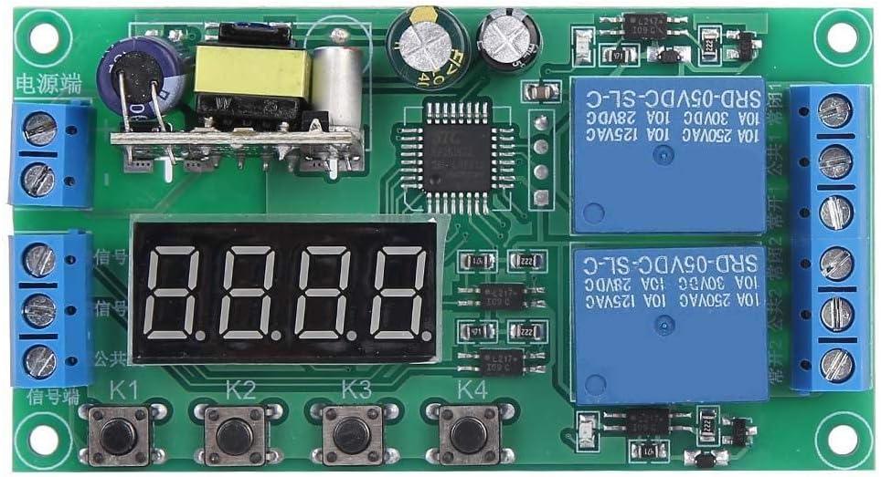 Relais de minuterie Dual Channel AC 220V 0.01s-999m Commutateur de relais temporis/é D/éclencheur dimpulsions multifonctionnel Minuterie de cycle