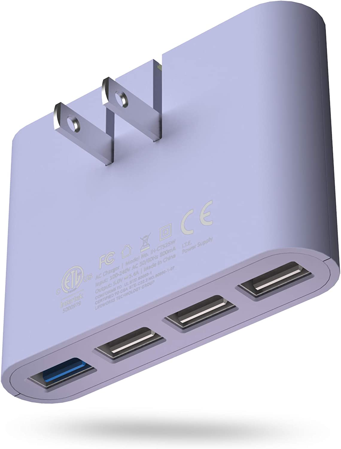 iHome AC Pro 4.4 Amp 4-Port USB Wall or Travel Charger, Flat Foldable Plug for iPhone 11, 11 Pro, 11 Pro Max, Xs, Xs Max, XR, X, 8, Airpods, iPad, Samsung Galaxy Android & More – Pastel Purple