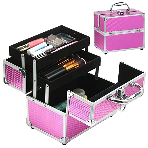 tinkertonk Makeup Box Aluminum Case Hairdressing Box Beauty Cosmetics Faux Leather Pink