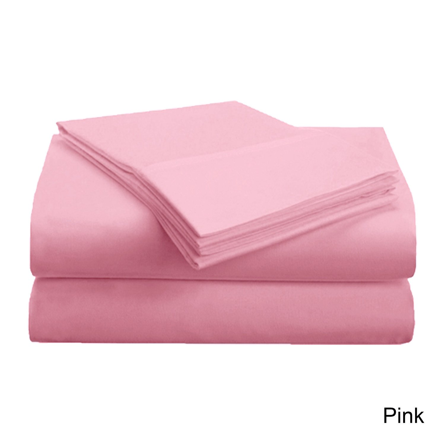 4 Piece King Pink Sheet Set, Casual & Traditional Style, Solid Color, Fully Elasticized Fitted Sheet, Solid Color, Microfiber, Sateen weave, Single-ply design, Machine Wash, Bed Sheet