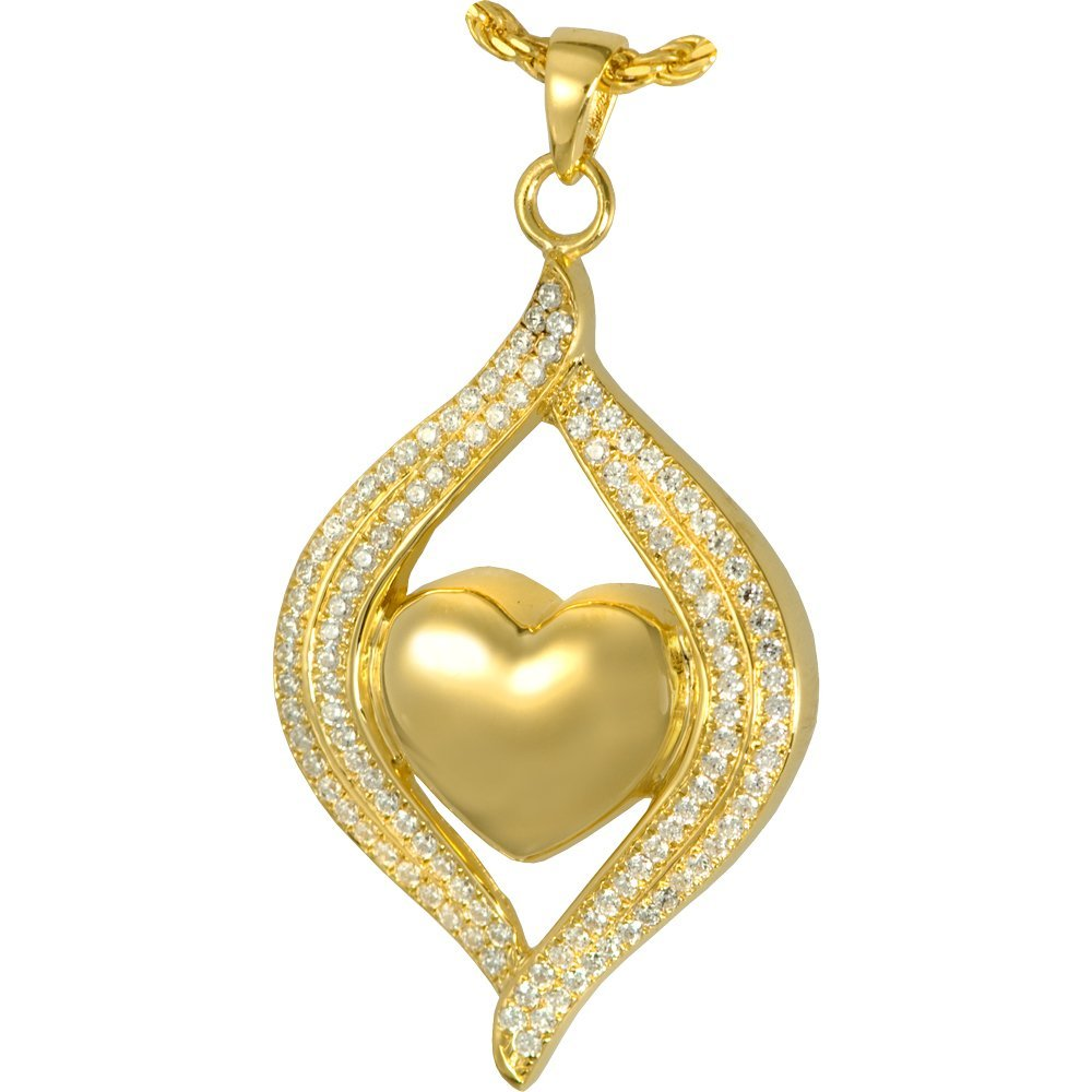 Memorial Gallery 3320gp Teardrop Ribbon Heart 14K Gold/Sterling Silver Plating Cremation Pet Jewelry