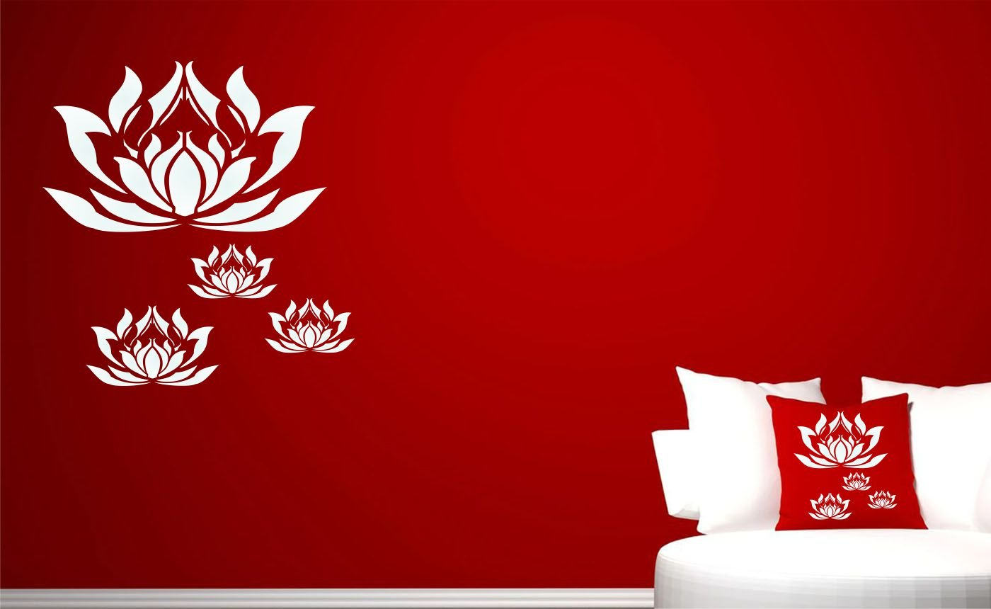 LOTUS FLOWERS STENCIL (size 10.5''w x 10.5''h) Reusable Stencils for Painting - Best Quality Scrapbooking Wall Art Décor Ideas - Use on Walls, Floors, Fabrics, Glass, Wood, Posters, and More... by Stencils for Walls