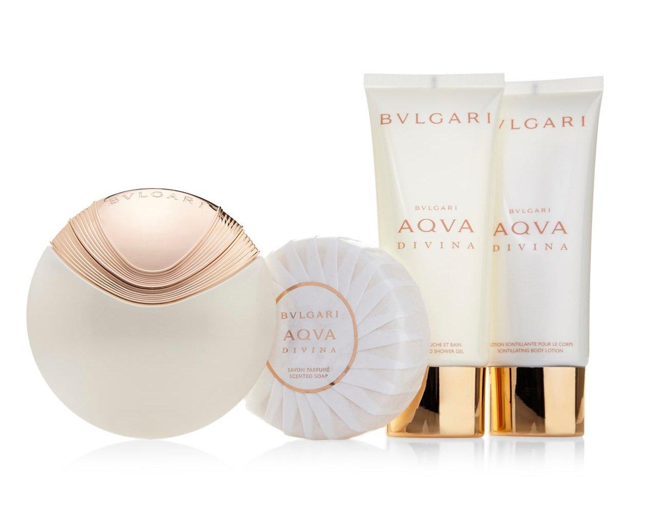 Bulgari Aqua Divina Set contains Eau de Toilette Spray 65 ml/Soap 150 g/Shower Gel 100 ml and Body Lotion 100 ml NLA133728 0783320806377 sku