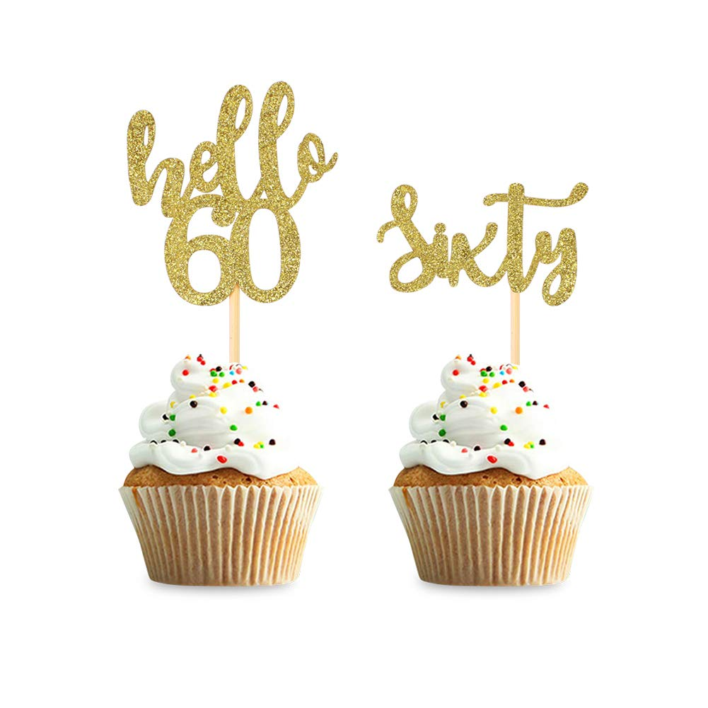 36pcs Gold 60th Birthday Cupcake Toppers Hello 60 Sixty Birthday Cupcake Topper Decor,Anniversary Decor,Thirty Party Cake Decor