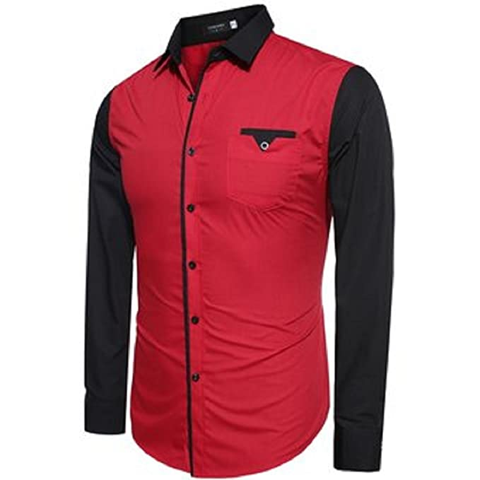 5ac36894069ba UD FABRIC Red and Black Casual Cotton Shirt for Mens (Medium) No Need