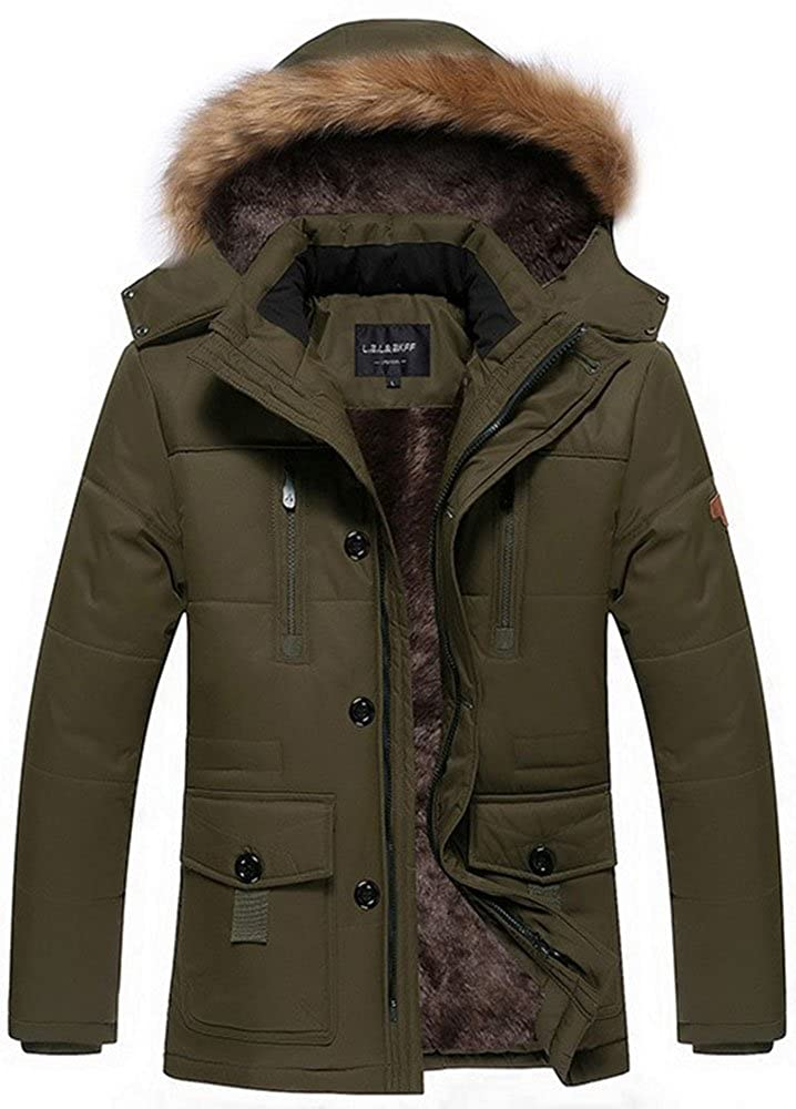 Fashciaga Men's Winter Hooded Faux Fur Lined Coats