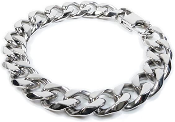 Chunky Heavy Black Stainless Steel Cuban Curb Chain Bracelet Wristband for Men