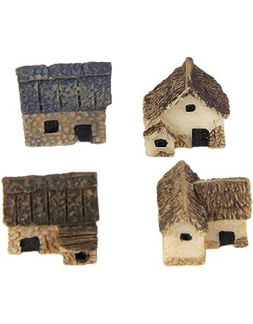 4pcs Maqueta de Choza Edificio Miniature Resina Casa de Muñecas Bricolaje
