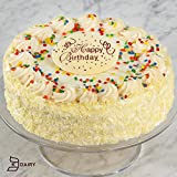 Shari's Berris - Birthday Vanilla Bean Cake with Happy Birthday Plaque - 1 Count - Gourmet Baked Good Gifts