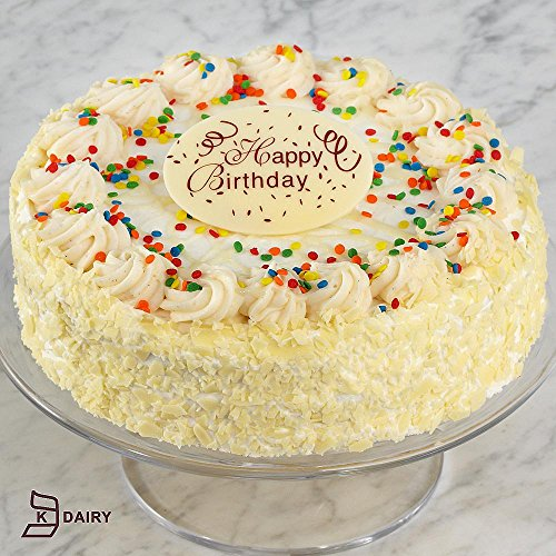 Shari's Berries - Birthday Vanilla Bean Cake with Happy Birthday Plaque - 1 Count - Gourmet Baked Good Gifts