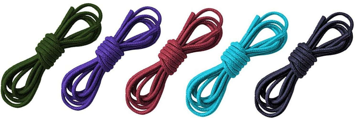 Set Of Five Mixed Color Waxed Cotton 30'' Dress Shoelaces