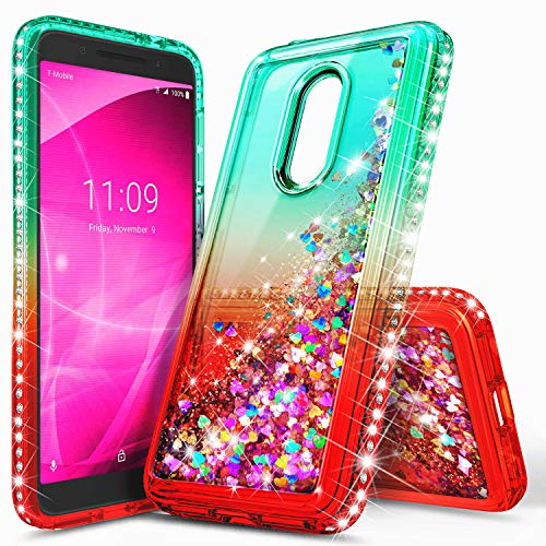 Revvl 2 Case (T-Mobile), NageBee Glitter Liquid Quicksand Waterfall Floating Flowing Sparkle Shiny Bling Diamond Shockproof Girls Cute Case for (T-Mobile) Alcatel Revvl 2 (2018) -Green/Candy