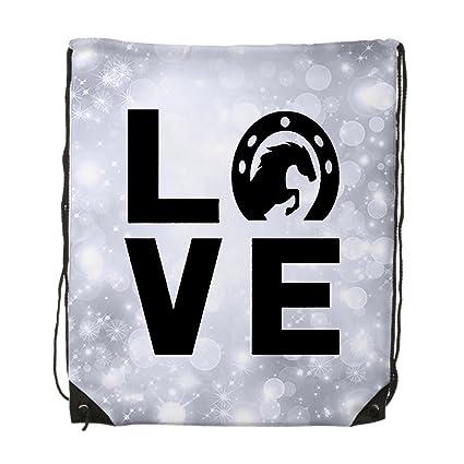5109e2b386 Image Unavailable. Image not available for. Color  Love Horse Unisex Gym  Drawstring Shoulder Bag Backpack Travel Bag Bags Backpack String ...