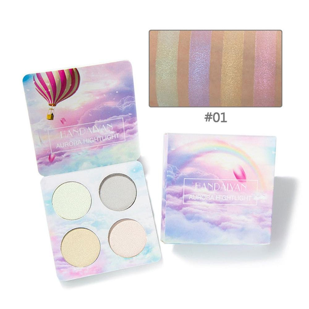Highlighter Palette, Leegoal 4 Colors Highly Pigmented Makeup Powder Luminous Shimmer Glow Kit Highlighter Bronzer Palette - Create An Extreme Iridescent Highlight for You