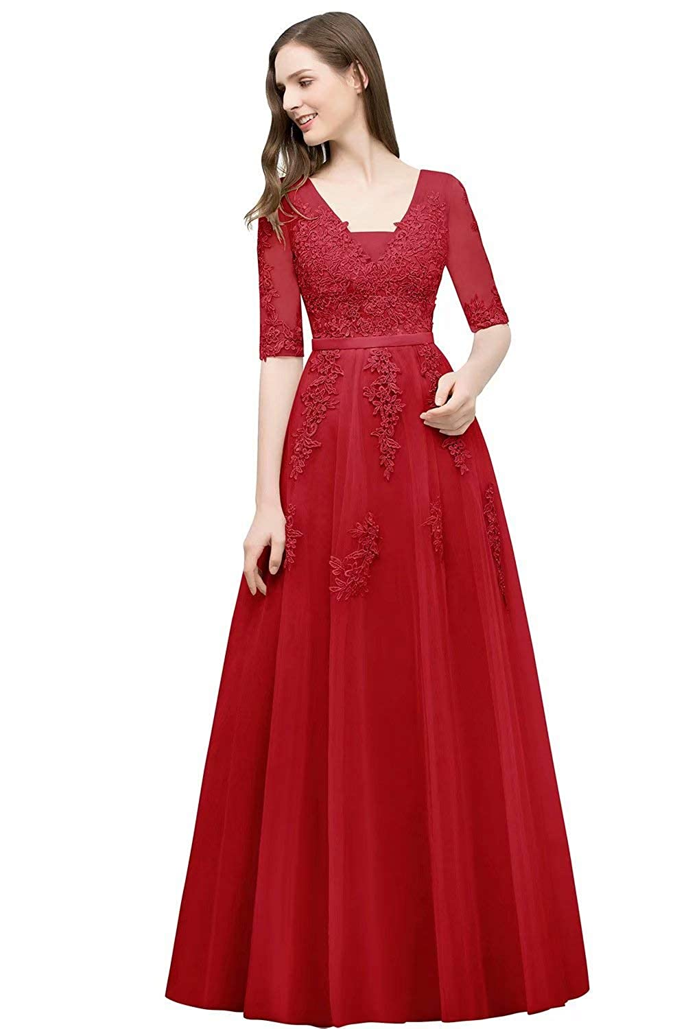 Red Unions Women V Neck Tulle Prom Party Gown A Line Appliques Lace Formal Backless Evening Dress