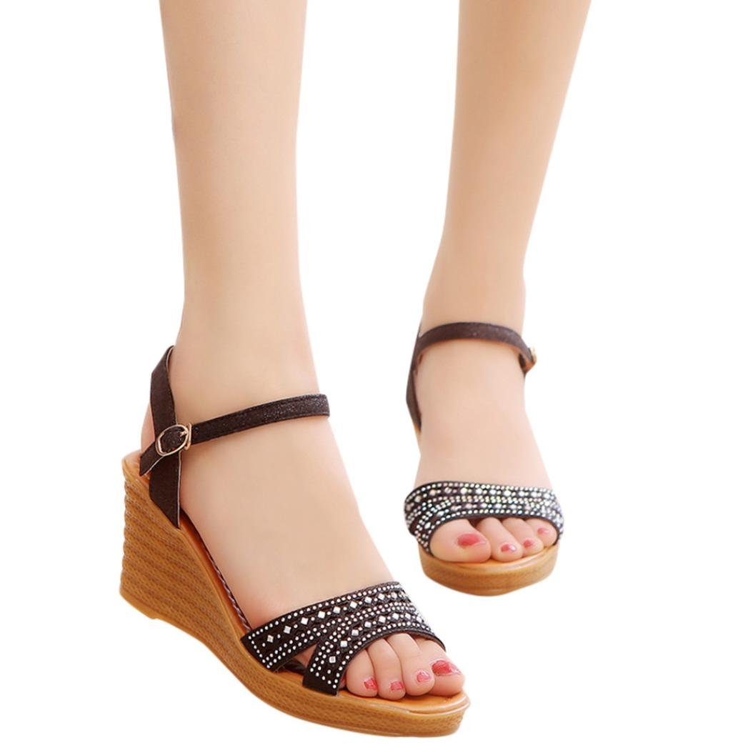 Summer Women High Heels Sandals,Vanvler Ladies Fish Mouth Platform Wedge Sandals Slope Sandals Clearance B07D7RQNX6 6 US|Black