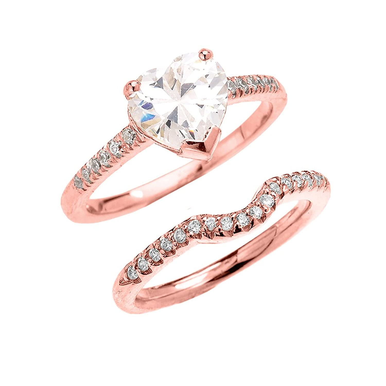 10k Rose Gold Dainty Heart Shape Cubic Zirconia Solitaire Wedding Ring Set