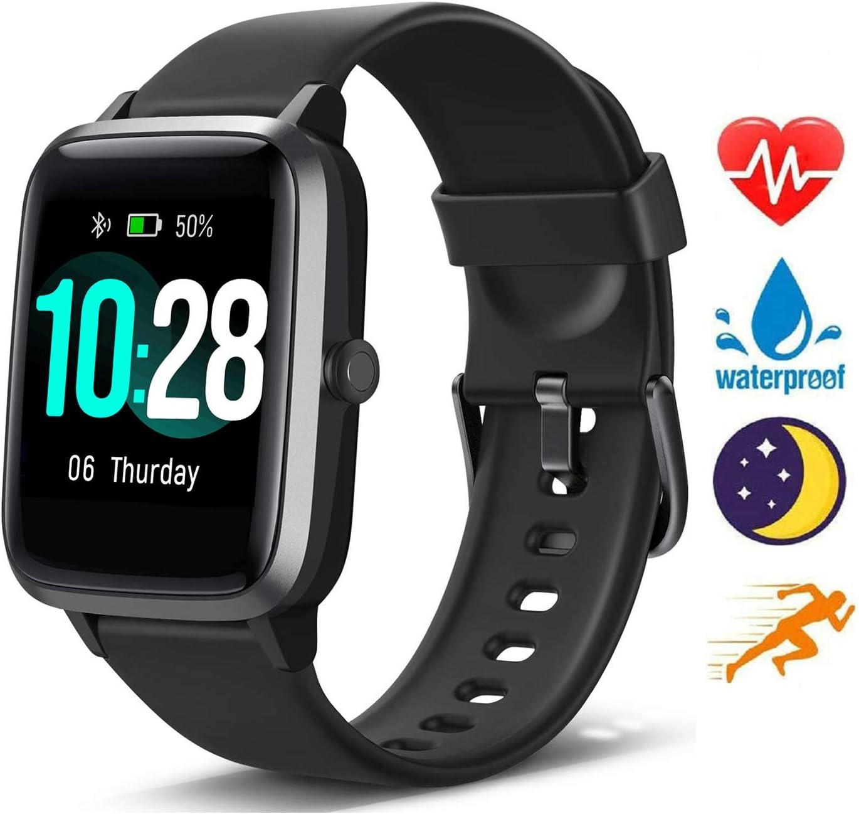 Blackview Smartwatch, Reloj Inteligente con Pulsómetro Mujer Hombre niños, Monitor de Sueño, 45 Días Batería Ultra Larga Vida, Reloj de Fitness para iOS y Android Xiaomi Huawei Samsung