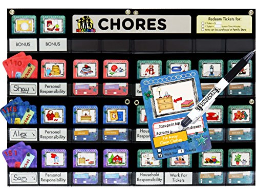 NEATLINGS Chore Chart - up to 3 kids. 76 chores! Kids will be happy & helping. Parents' Choice Award Winner 2016! One chart endless options! Reward / Responsibility (Purple, Pink, Dark Blue) (Monthly Pocket Chart)