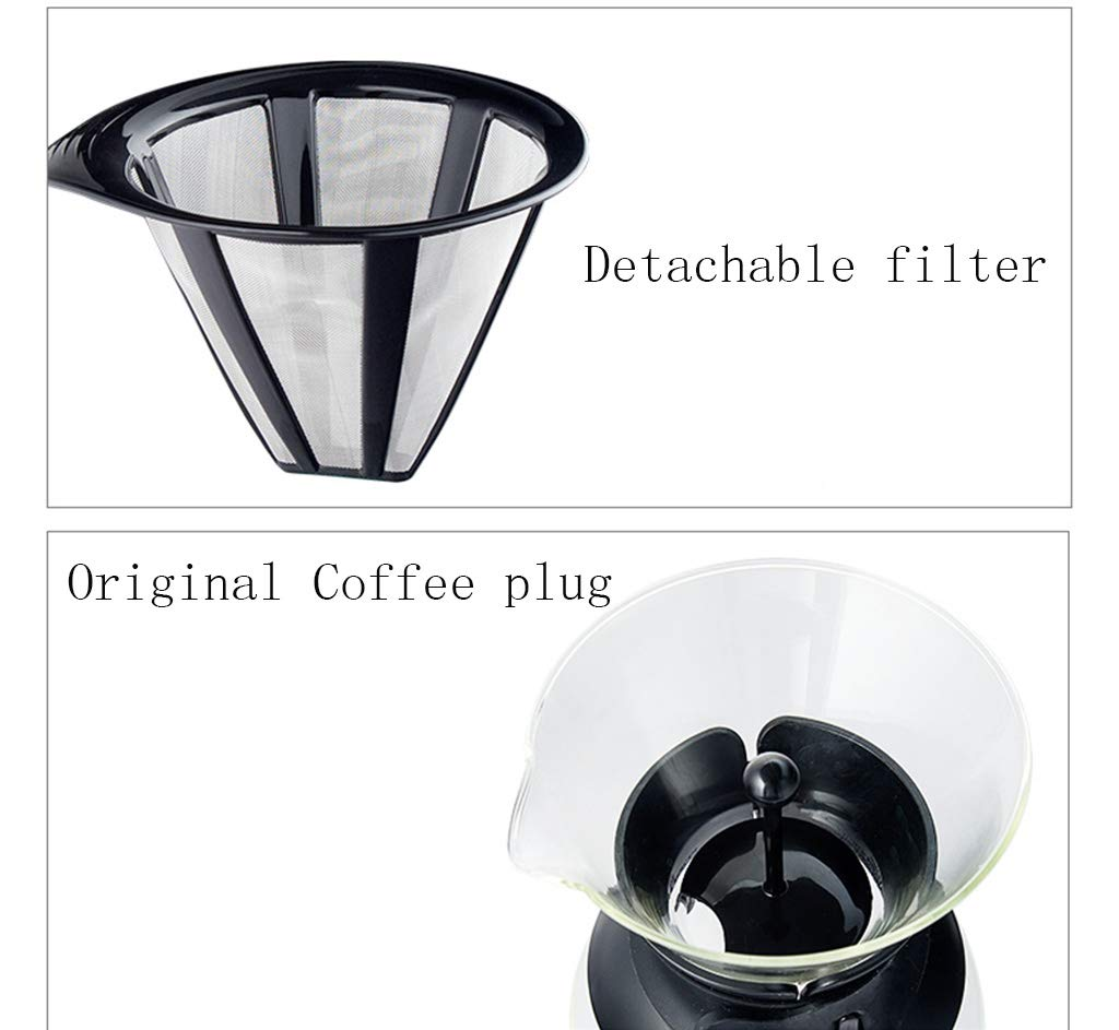 Drip Type Pouring Coffee Pot and Filter Borosilicate Glass-1.5l Black Permanent Stainless Steel Filter Without Paper Filter by YQQ-Coffee Pot (Image #2)