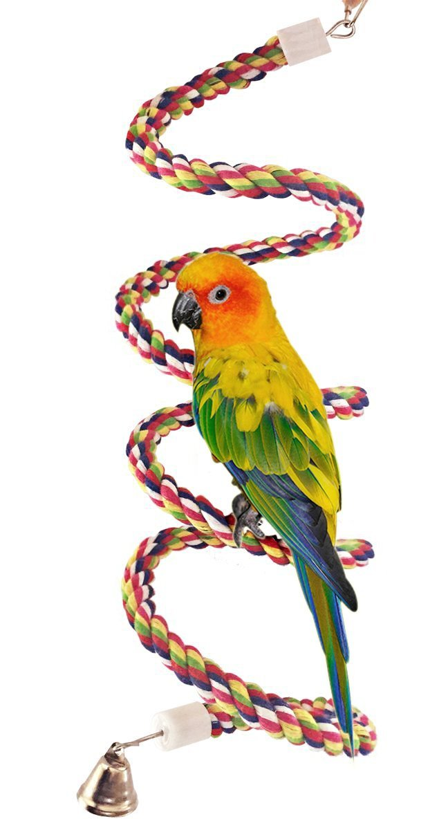 Petsvv 0.6-Inch by 63-Inch Rope Bungee Bird Toy