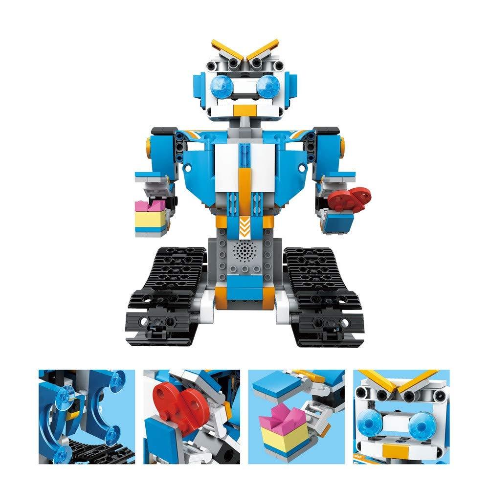 Choosebuy❤️ RC Smart Robot, Building Blocks Walking Electronic Robot Christmas Xmas Playful Gifts DIY STEM Toy for Kids (A)