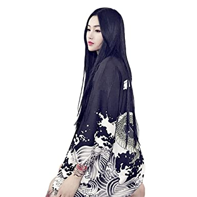 ZooBoo Women Japanese Kimono Cardigan - Harajuku Bathrobe Cardigan  Sunscreen Clothes Pajamas Knitting Coat - White Black at Amazon Women s  Clothing store  119989d98445