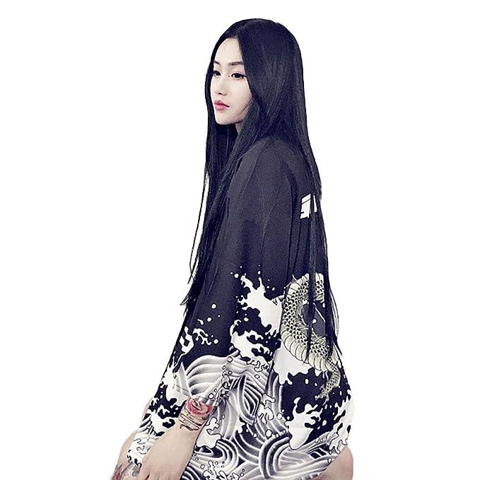 3cdc9caf173 ZooBoo Women Japanese Kimono Cardigan - Harajuku Bathrobe Cardigan  Sunscreen Clothes Pajamas Knitting Coat