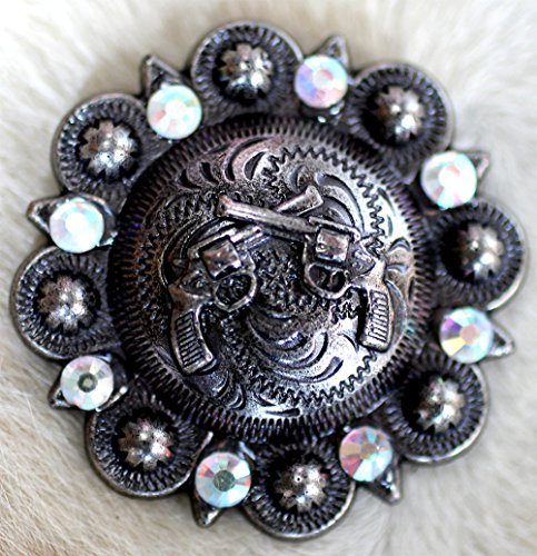 - 4 Conchos Rhinestone Horse Saddle Bridle Tack Western Berry CrossGun Bling CO377