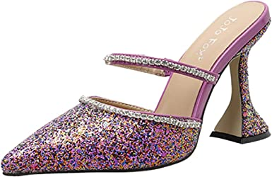 Tsmile Womens Fashion Sequins Glitter Rhinestone Crystal Open Toe Sandals Low Heel Buckle Ankle Strap Shoes Flats