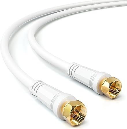 deleyCON 2m Cable de Antena Cable Coaxial Sat TV HDTV Quad Shield DVB-S DVB-S2 Radio Dab Conector de Metal Dorado y Plateado - Blanco
