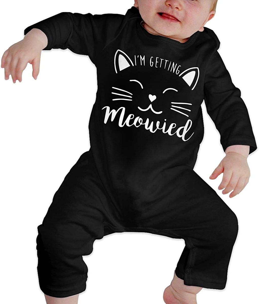 YELTY6F Im Getting Meowied Printed Boys Girls Jumpsuit Long Sleeve Outfits Black