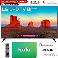 LG 55 Class 4K HDR Smart LED AI UHD TV w/ThinQ 2018 Model (55UK7700PUD) with Hulu $50 Gift Card & 1 Year Extended Warranty