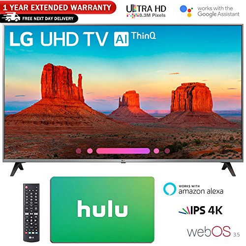 LG 55″ Class 4K HDR Smart LED AI UHD TV w/ThinQ 2018 Model (55UK7700PUD) with Hulu $50 Gift Card & 1 Year Extended Warranty