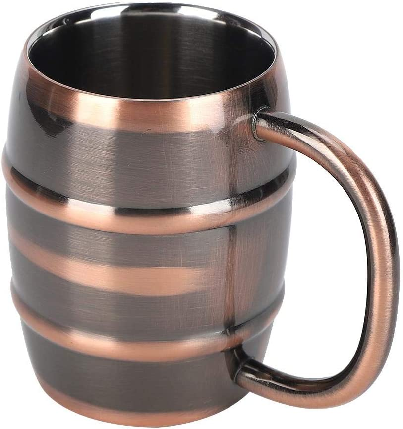 Jarra de cerveza de acero inoxidable de 250 ml Taza de café con aislamiento de doble pared con asa para uso doméstico Color bronce