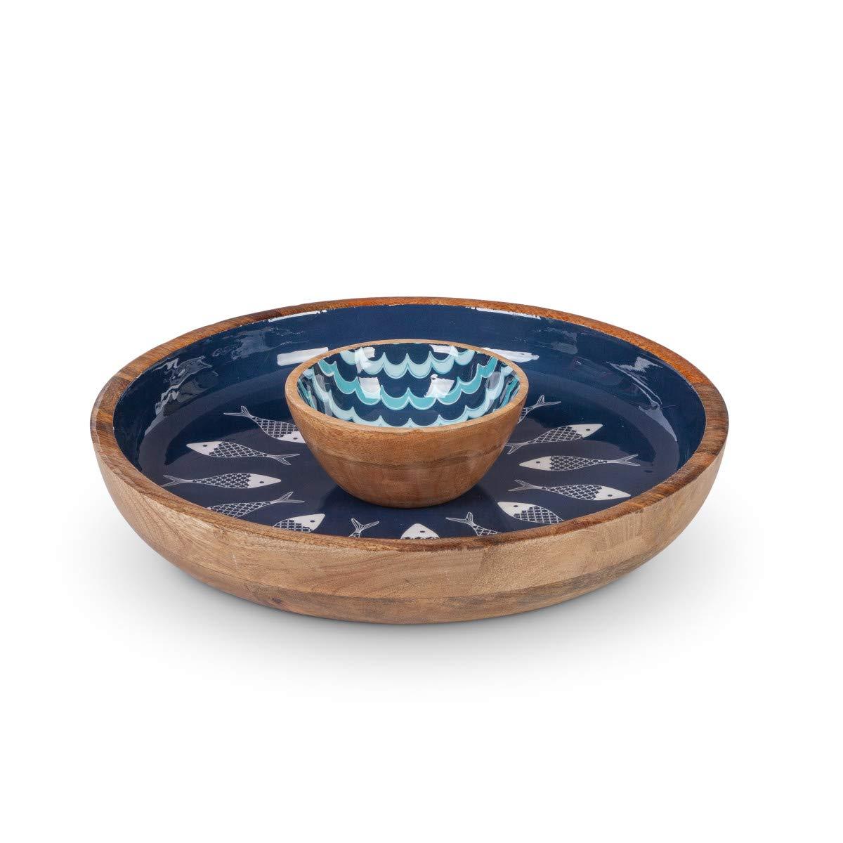 Gerson 2 pc Set, 12'' D x 3.5'' H Mango Wood Chip & Dip in Blue Fish/Wave Pattern
