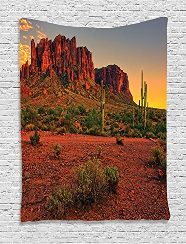 Ambesonne Saguaro Cactus Decor Collection, Colorful Sunset View of the Desert and Mountains near Phoenix Arizona USA Image, Bedroom Living Room Dorm Wall Hanging Tapestry, Brown Green ()