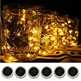 6-Pack Solar-powered Mason Jar Lights (Jar & Handle Not Included),10 Bulbs Warm White Jar Hanging Light,Solar Fairy Firefly Lights Lids Insert Fit for Regular Mouth Jars for Decor Solar Table Light