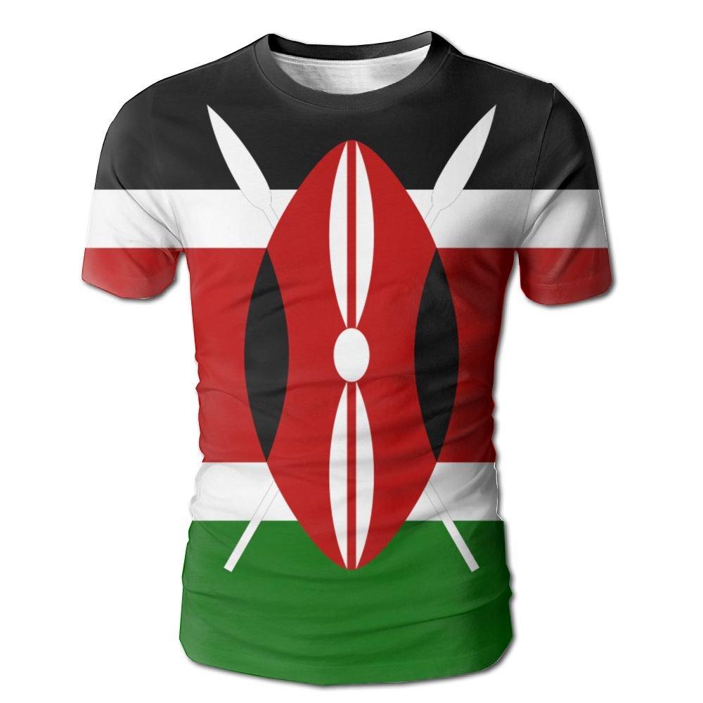 YOIGNG Hawaiian 3D Printed Kenya Flag T-Shirt Short Sleeve Crewneck Tee Pullover Casual Tops