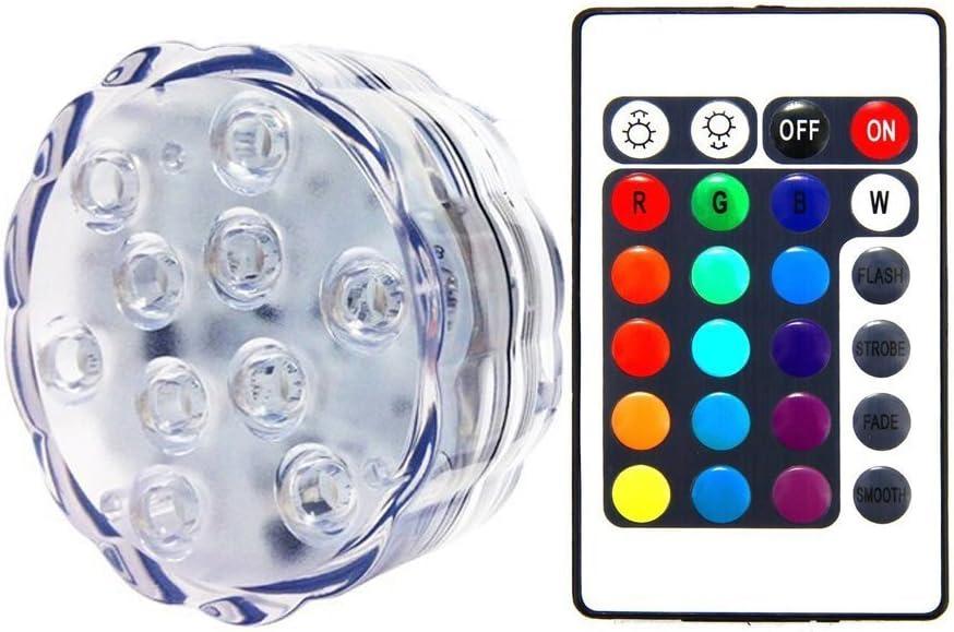 Unterwasser Licht LED 1 St/ück Poolbeleuchtung mit Fernbedienung,10-LED RGB Multi Farbwechsel IP68 Wasserdichte LED Leuchten f/ür Vase Base Aquarium Weihnachten Schwimmbad Halloween Weihnachten Party