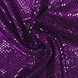 Faux Sequin Knit Fabric Shiny Dot Confetti for Sewing Costumes Apparel Crafts by the Yard (1 YARD, Purple)