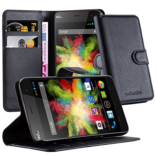 Cadorabo Book Case Works with WIKO Bloom in Oxid Black - with Magnetic Closure, Stand Function and Card Slot - Wallet Etui Cover Pouch PU Leather Flip