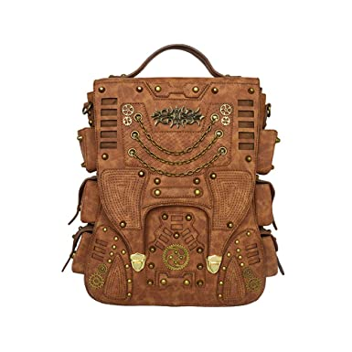f255ff8843 Image Unavailable. Image not available for. Color  Steampunk Backpack Women  Men Leather Vintage ...