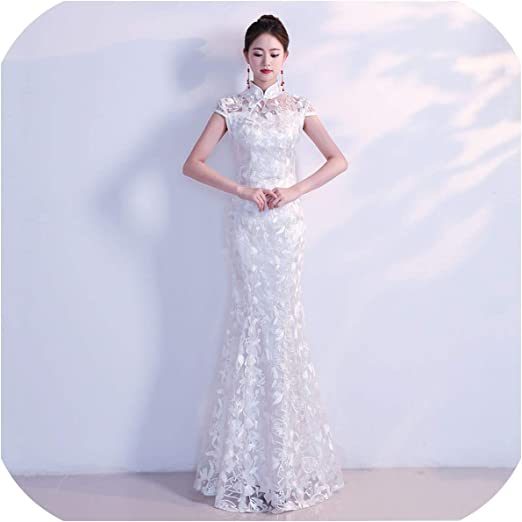 Amazon Com White Traditional Chinese Wedding Dress Sexy Qipao