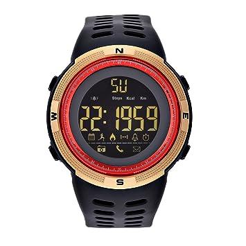 Relojes Digitales 3 Colores Reloj Electrónico Redondo Luz de Fondo Reloj Deportivo Impermeable(Dorado rojo