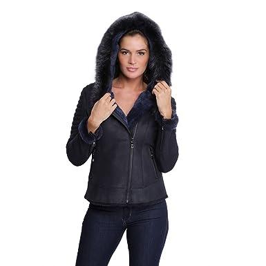 d8db20937e0a7 Veste en cuir avec capuche en fourrure pour femme Birky bleu marine ...