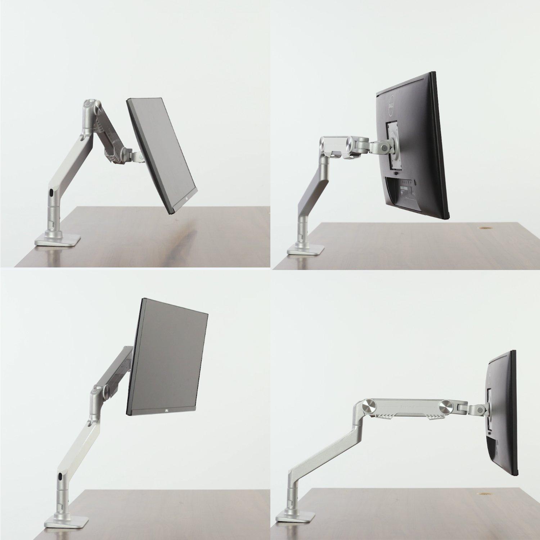 Bestand Regolabile Alluminio Cavalletto Monobraccio Supporto del Monitor da Tavolo per Uno Schermo LCD Monitor bianco