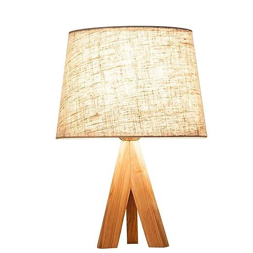 ZCF Lámpara de Mesa Dormitorio Cama Nordic IKEA de Madera Maciza ...