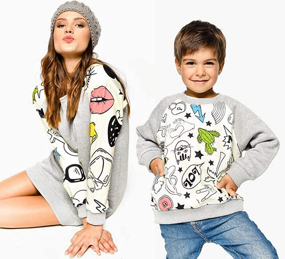 Family Matching Sweatshirt Cartoon Long Sleeve Blouse Tops Mommy and Me Matching Father and Son Outfits Clothes Grey