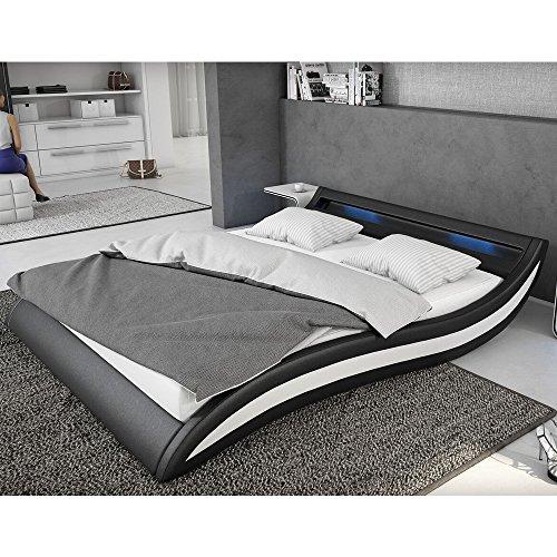 Polster-Bett 140x200 cm schwarz-weiß aus Kunstleder mit blauer LED ...